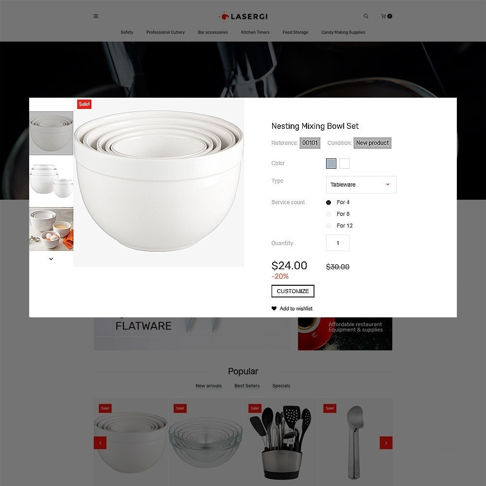 theme - Food & Restaurant - Glasergi - Cookware & Appliances PrestaShop Theme - 3