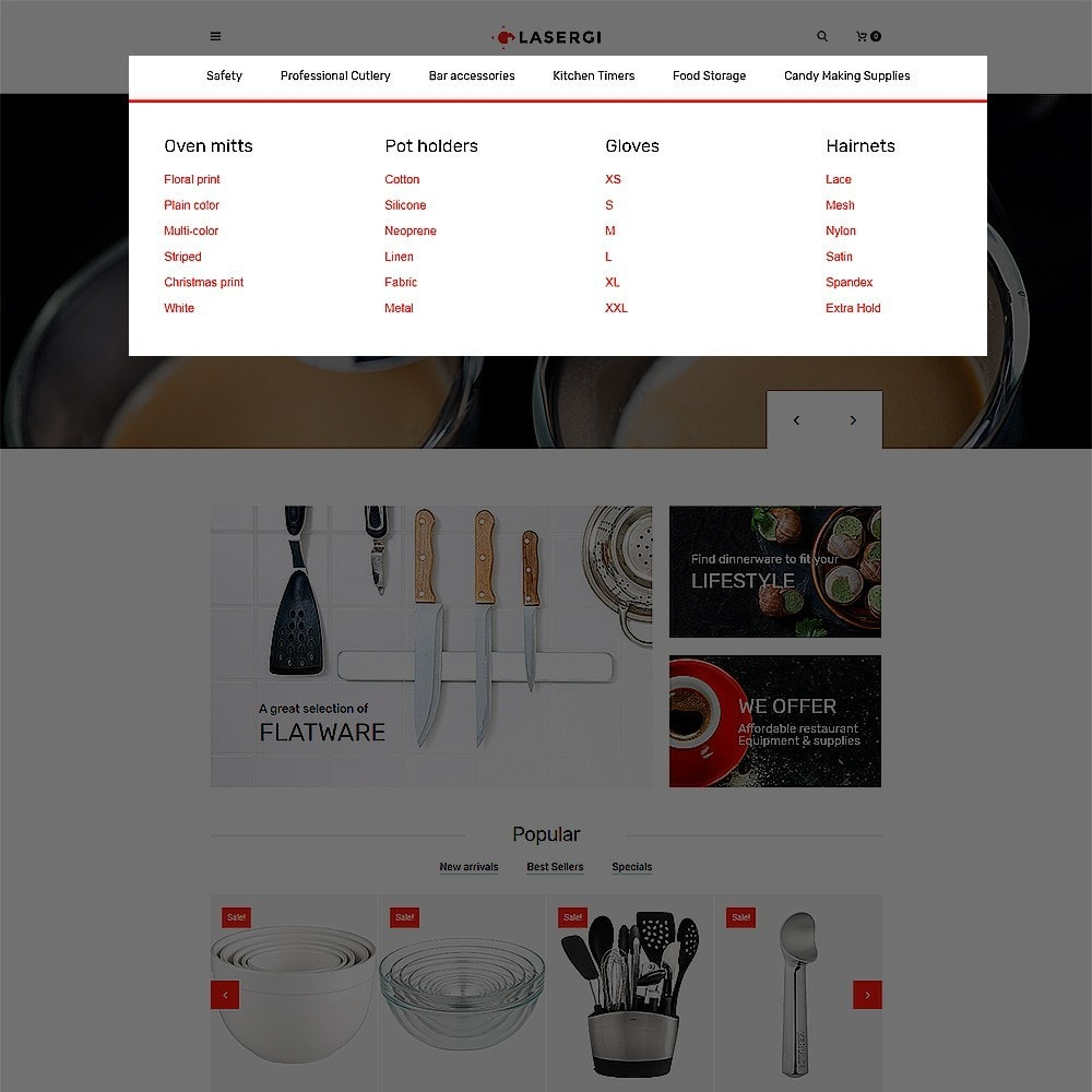 theme - Продовольствие и рестораны - Glasergi - шаблон оборудования для кафе и ресторанов - 4