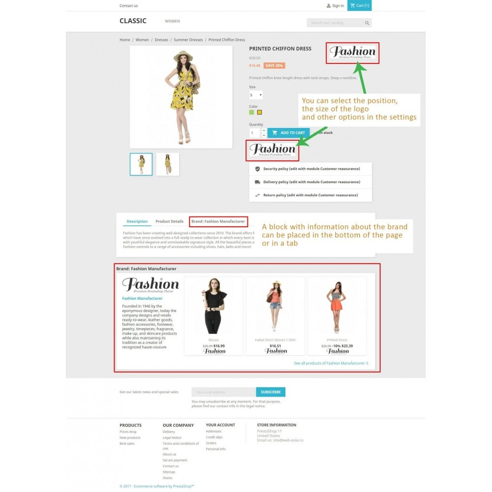 module - Marques & Fabricants - Bloc fabricant et Fournisseur sur la page du produit - 1