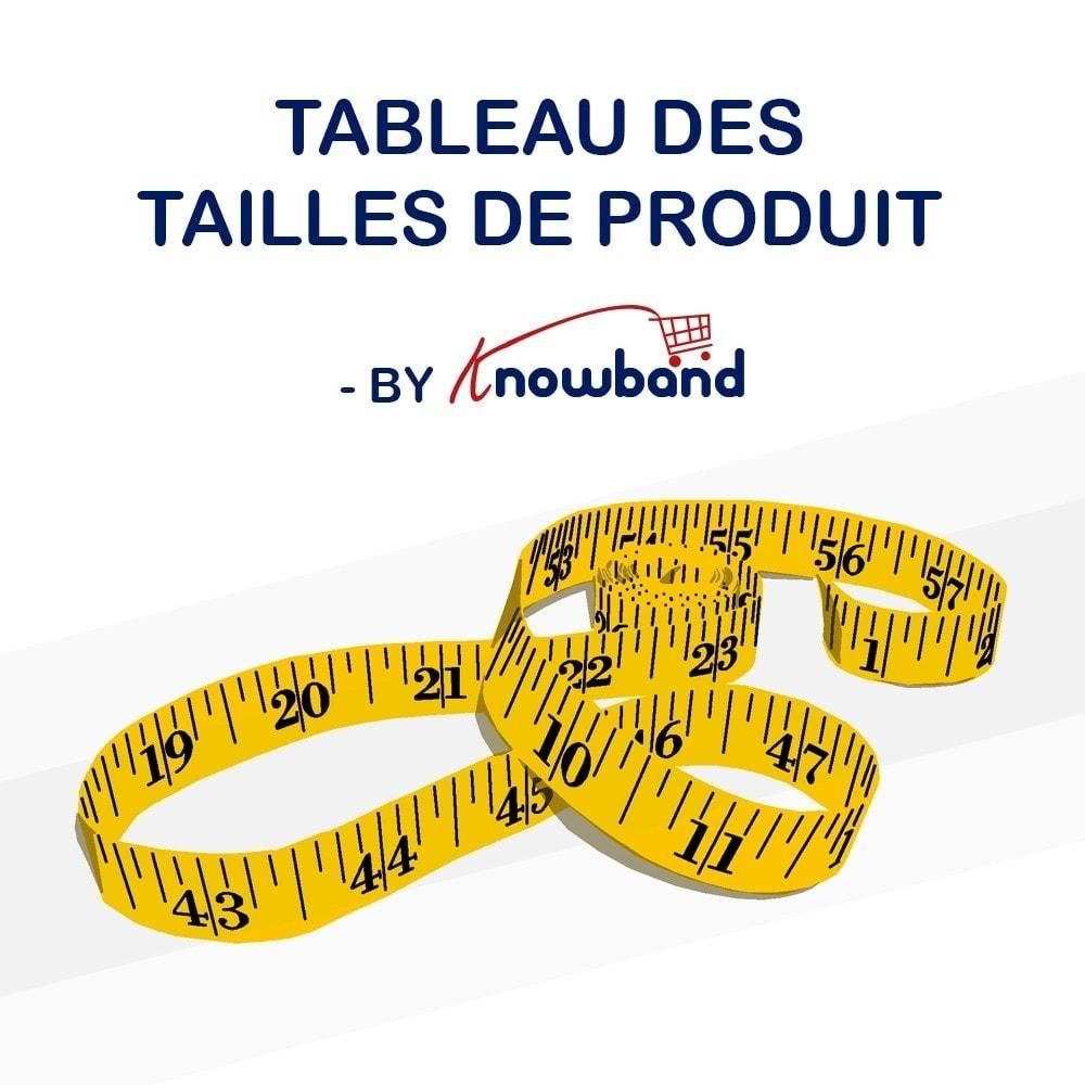 module - Information supplémentaire & Onglet produit - Knowband - Guide des tailles de produit - 1