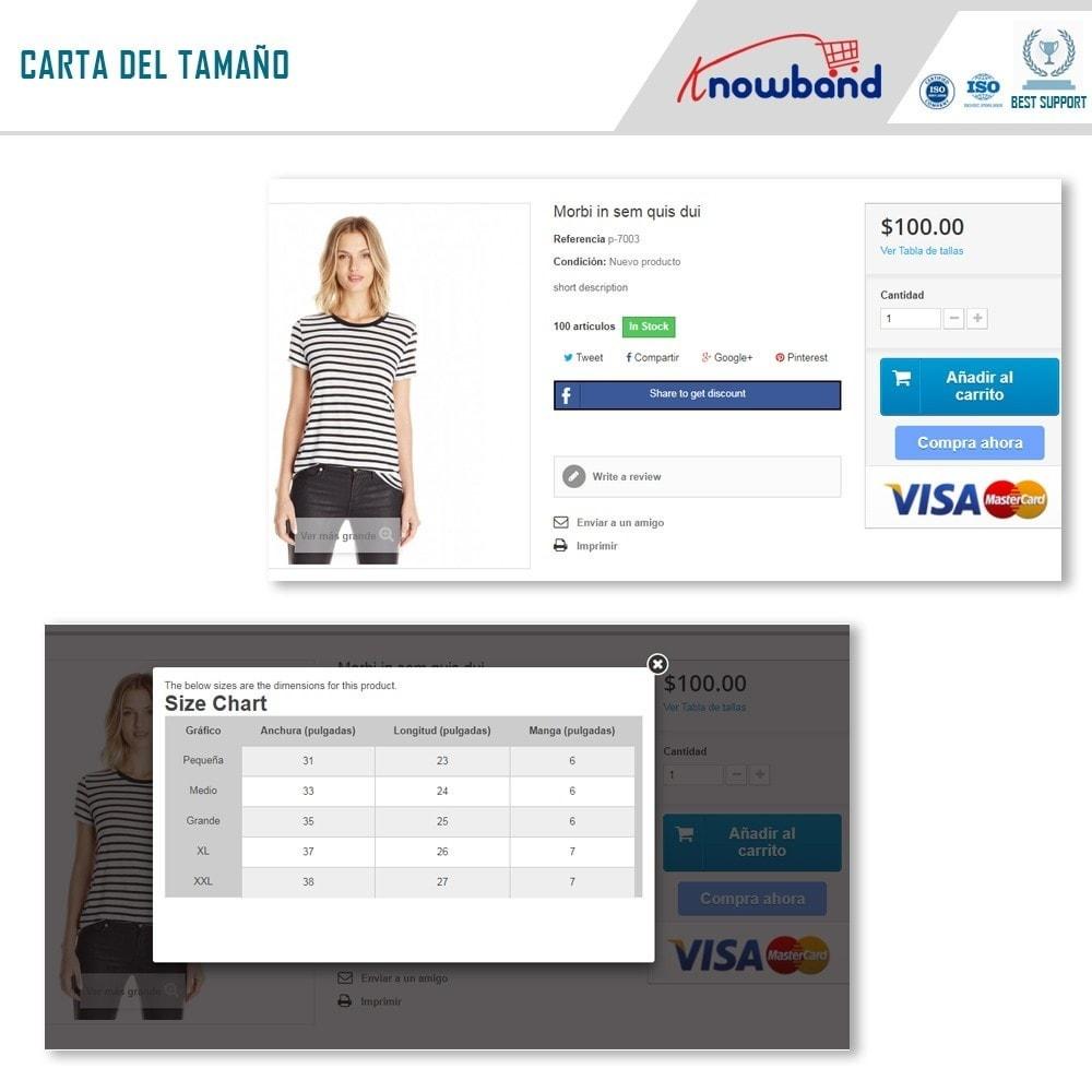 module - Informaciones adicionales y Pestañas - Knowband - Tabla de tallas del producto - 2
