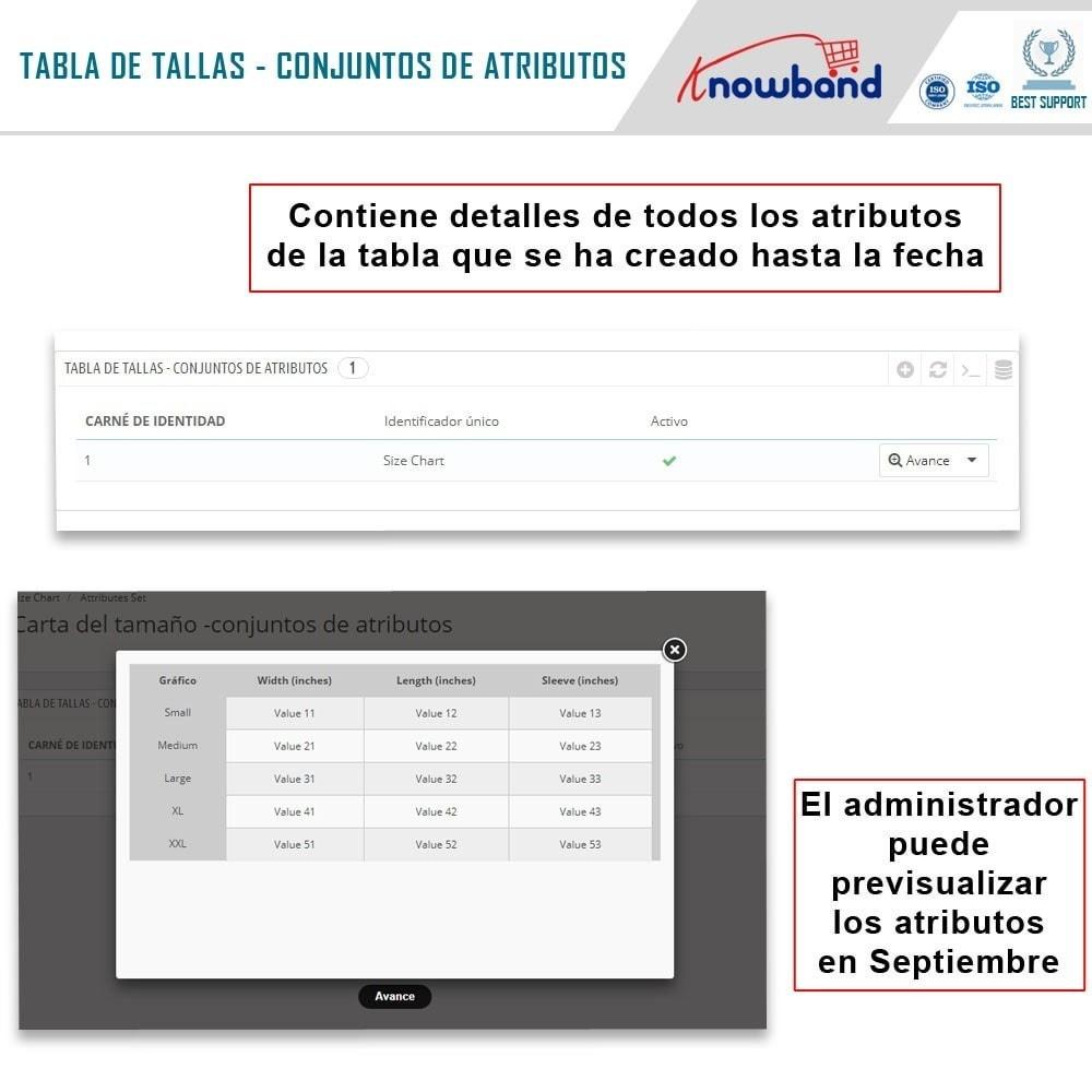 module - Informaciones adicionales y Pestañas - Knowband - Tabla de tallas del producto - 3