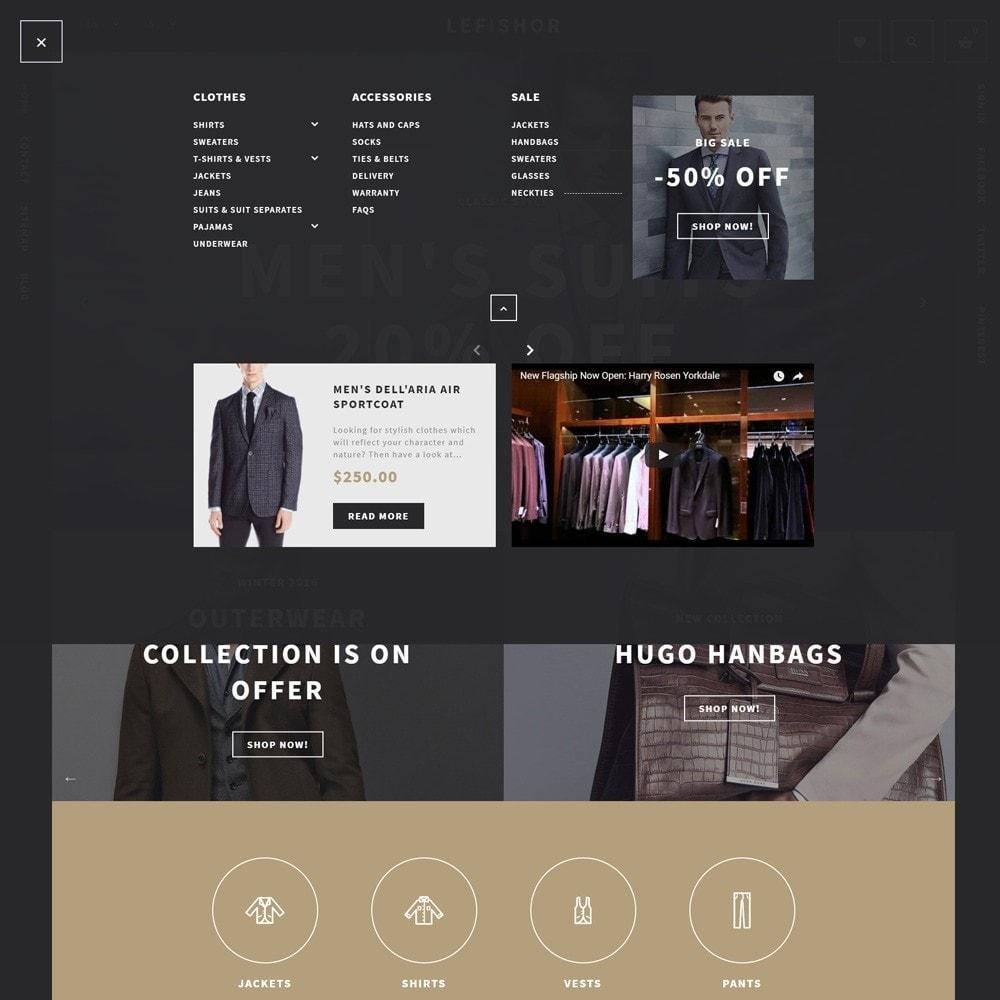 theme - Мода и обувь - Lefishor - PrestaShop шаблон мужской одежды - 4