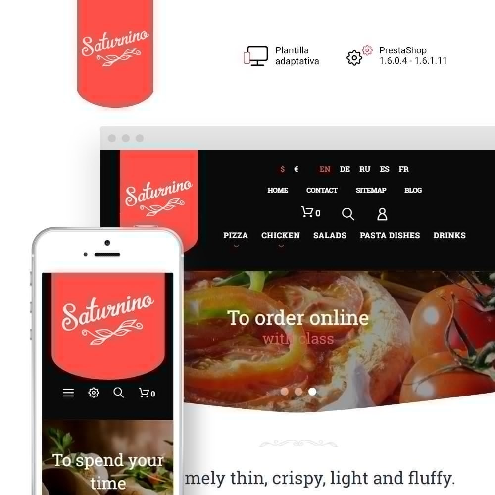 theme - Gastronomía y Restauración - Tema de PrestaShop para Sitio de Pizzerías - 1