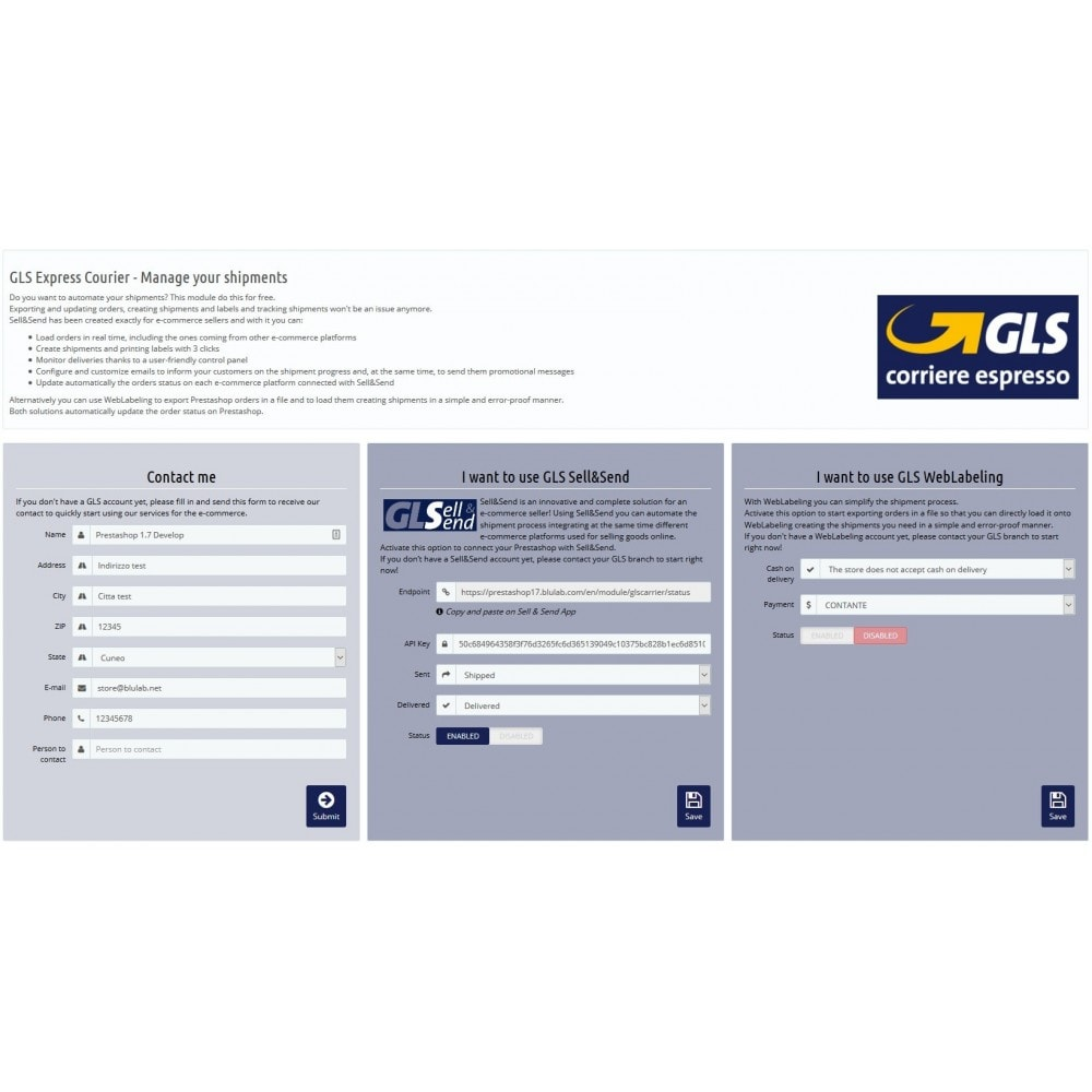 module - Transportadoras - GLS Corriere Espresso - Manage your shipments - 1