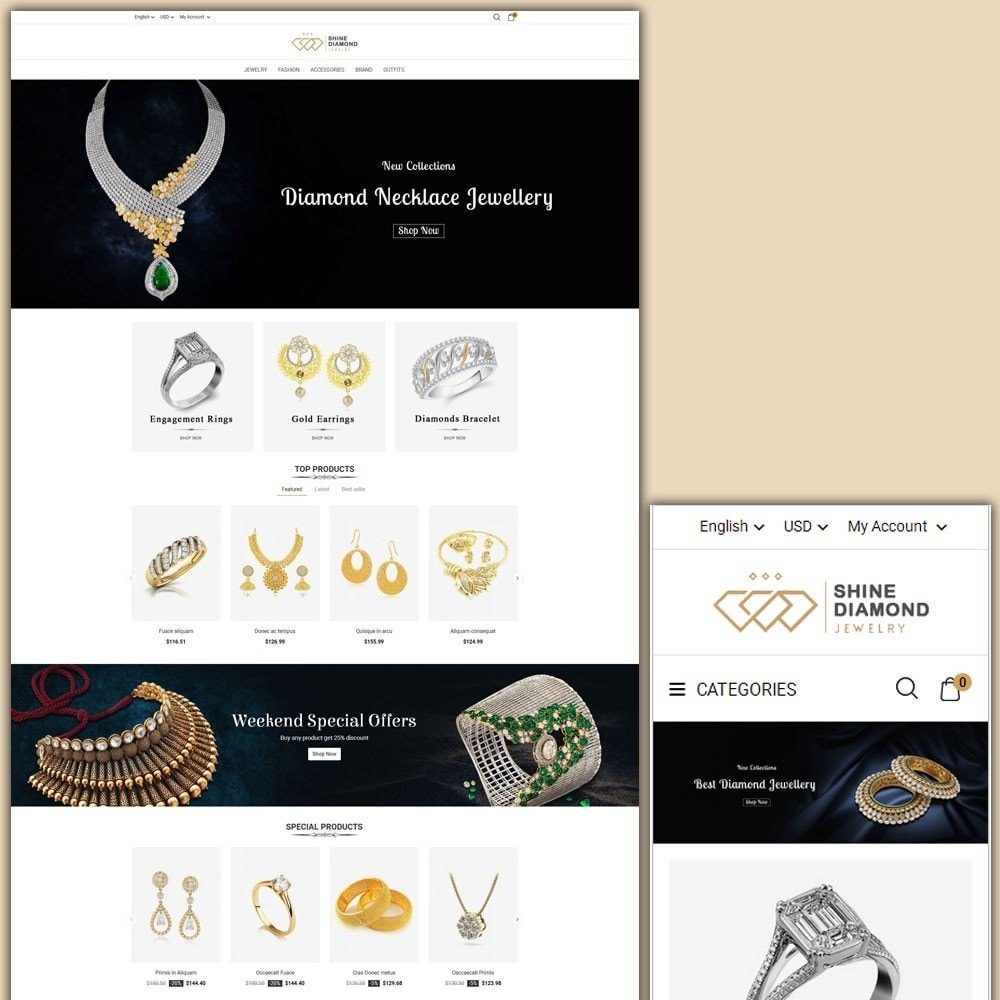 theme - Jewelry & Accessories - Shine Diamond Jewelry Store - 1