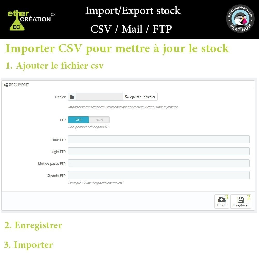 module - Import & Export de données - Import/Export stock en masse CSV / Mail / FTP - 1