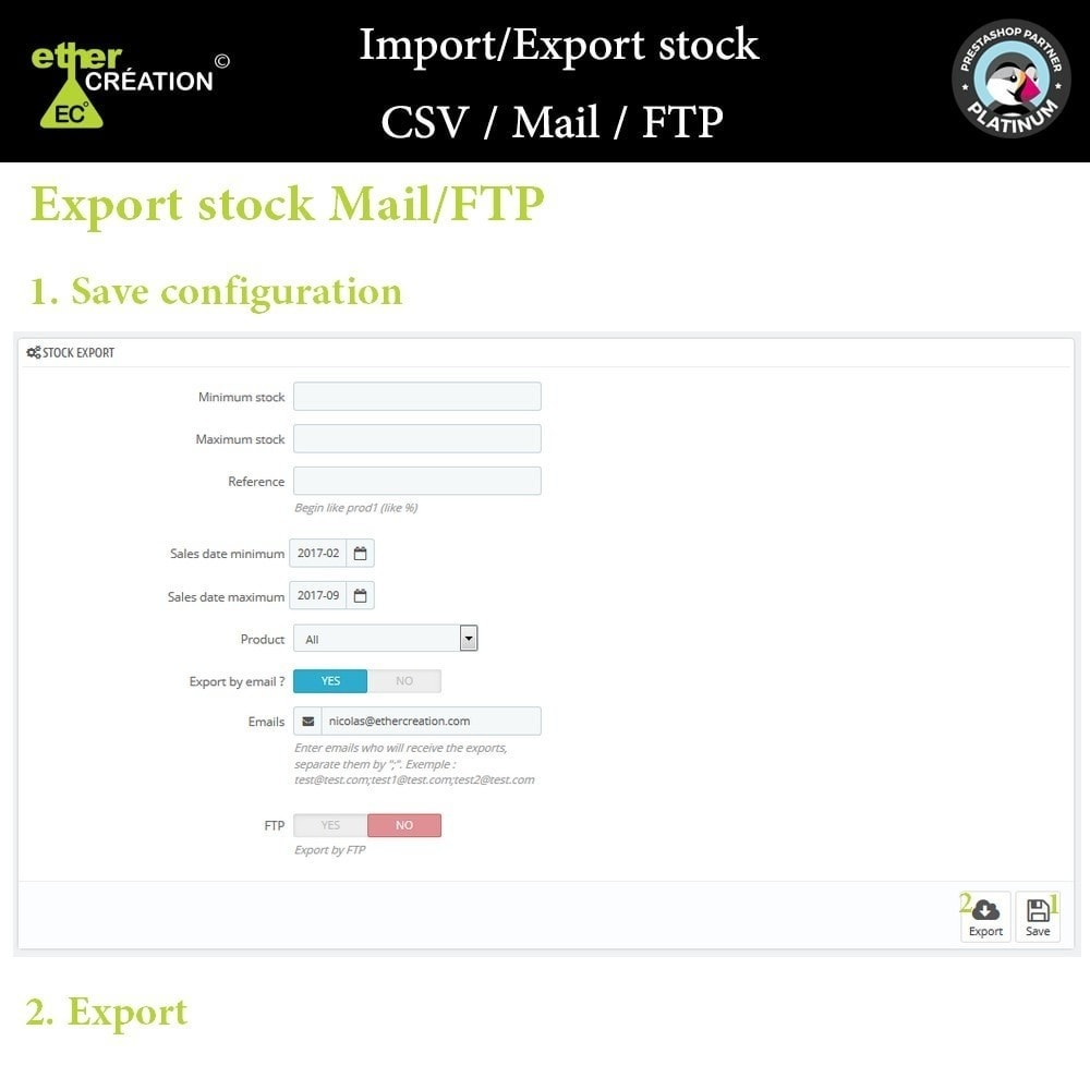 module - Import & Eksport danych (csv, pdf...) - Import / Export stock products CSV / Mail / FTP - 2