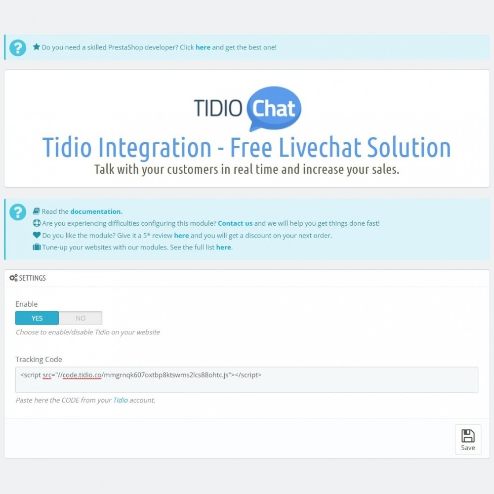 module - Suporte & Chat on-line - Tidio Integration - Free Livechat Solution - 7