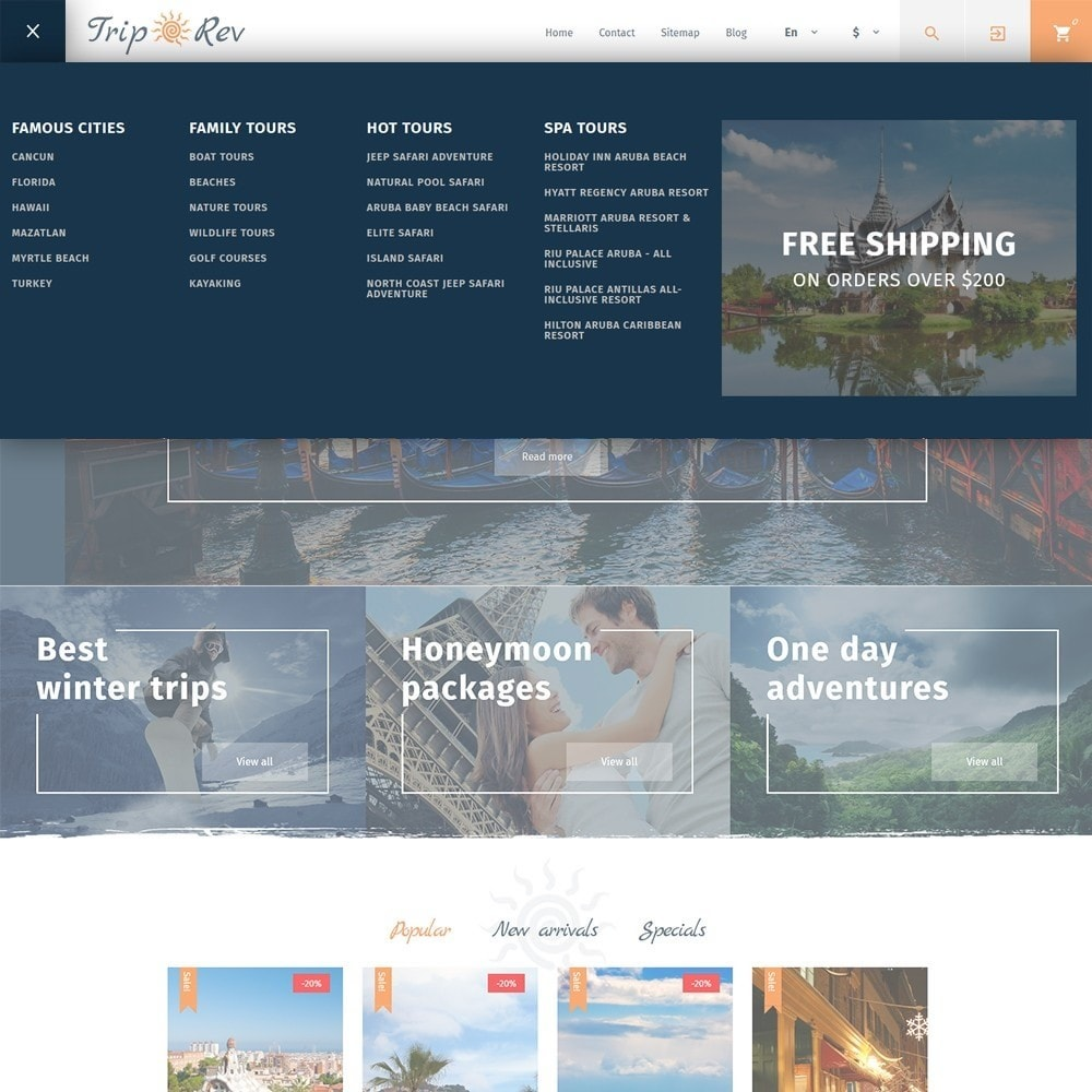 theme - Спорт и Путешествия - TripRev - PrestaShop шаблон на тему путешествия - 7