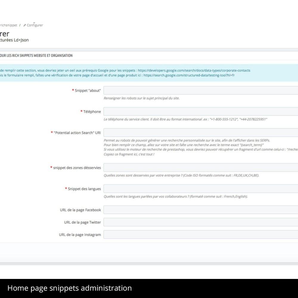module - Bijkomende Informatie - Rich snippet Product, Organisation et WebSite - 4