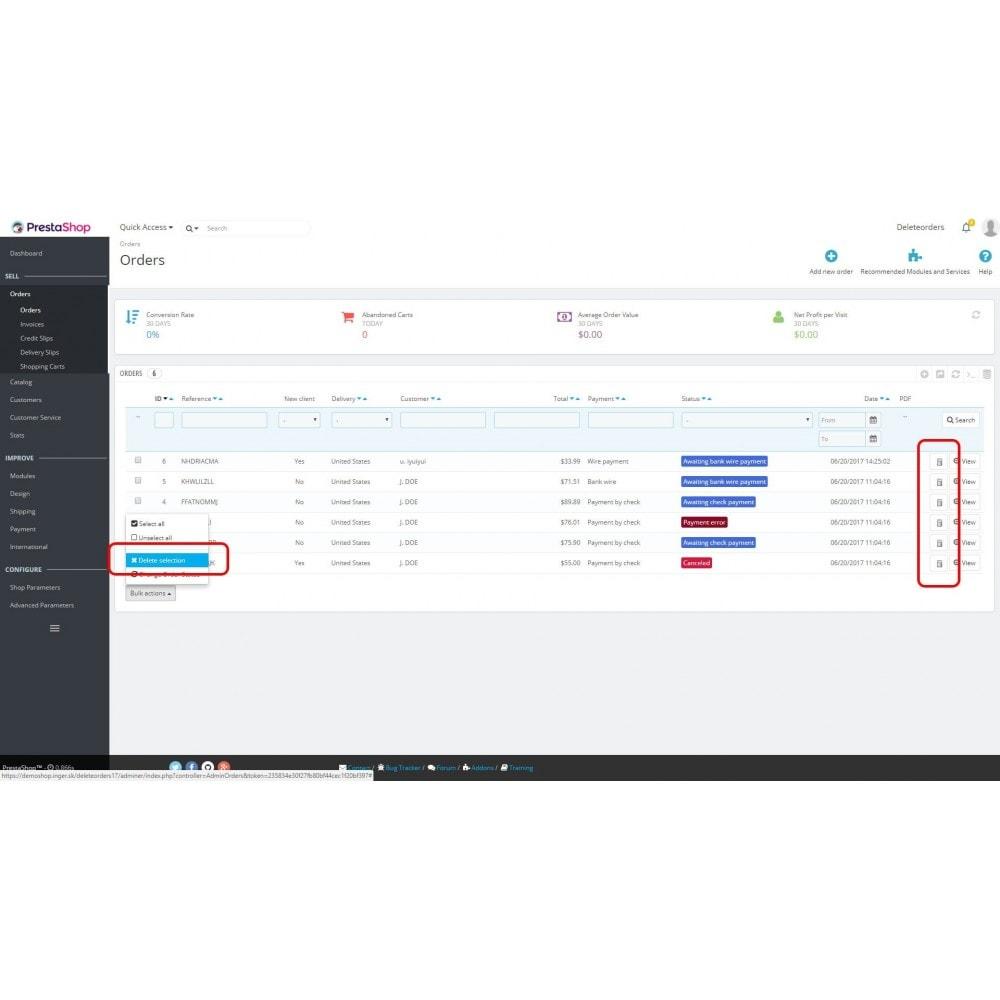 module - Gerenciamento de pedidos - Delete orders - 2