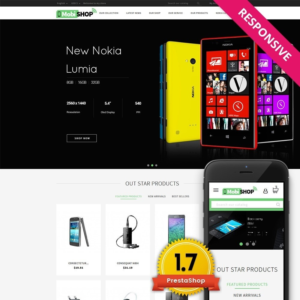 theme - PrestaShop Templates - Mobishop Onestop Mobile Store - 1
