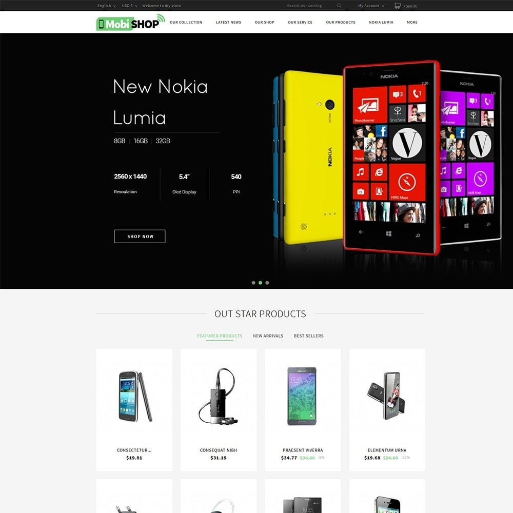 theme - PrestaShop Templates - Mobishop Onestop Mobile Store - 2