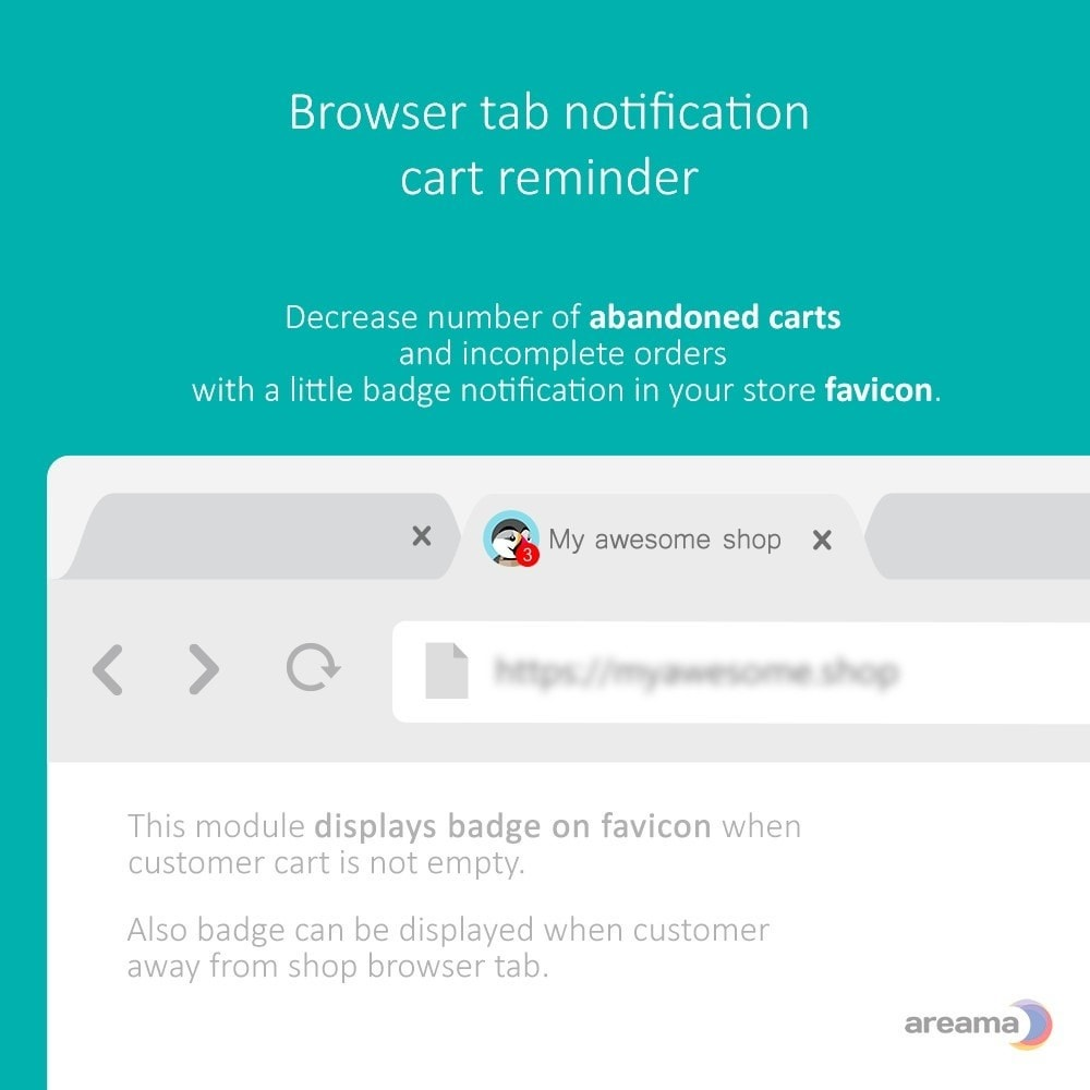module - Remarketing & Warenkorbabbrüche - Browser tab badge notification - cart reminder - 1