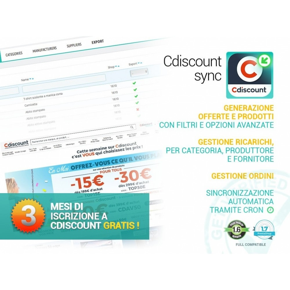 module - Marketplace - Sincronizza PrestaShop con il marketplace di cDiscount - 1