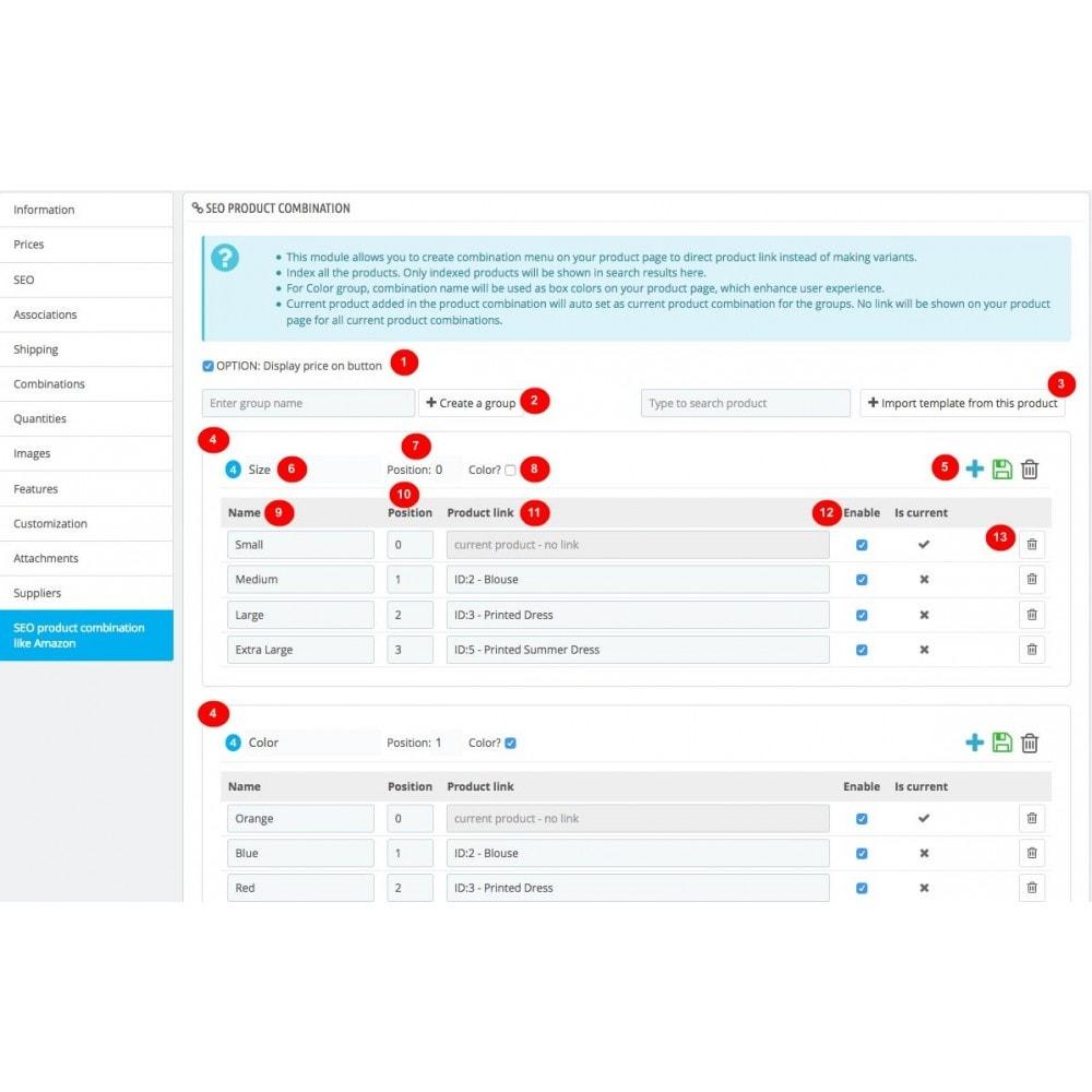module - Combinaciones y Personalización de productos - Ultimate SEO combination - 5