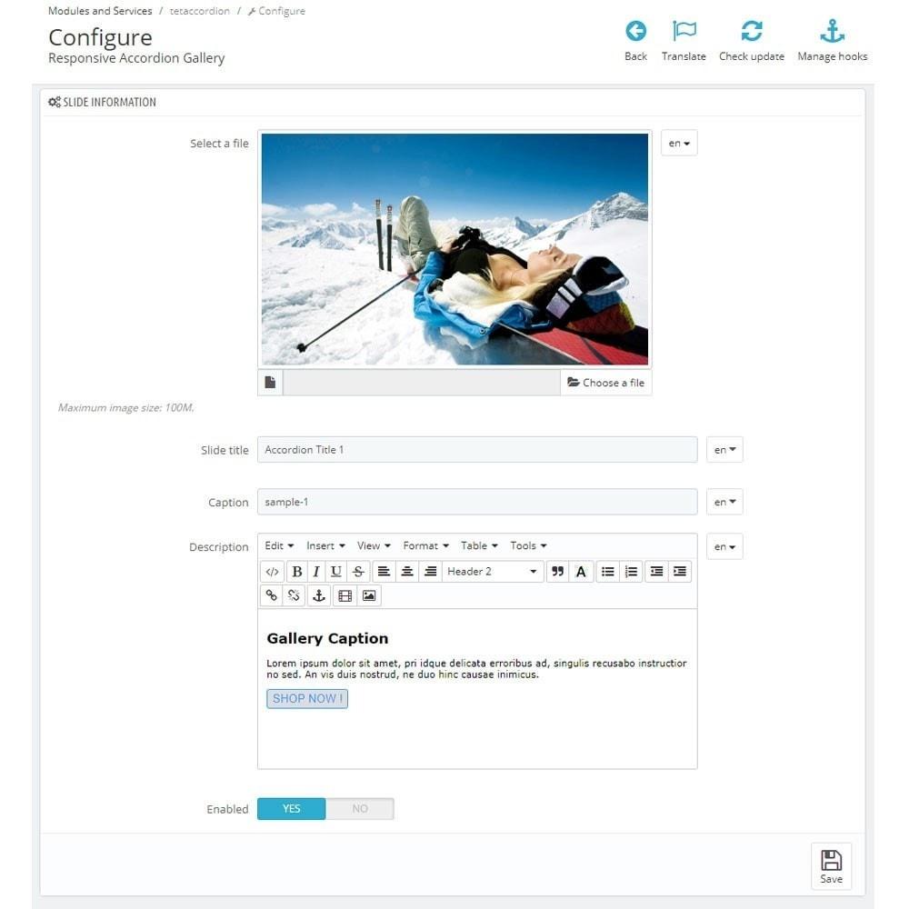 module - Sliders & Galeries - Accordion Image Gallery. Slider on Homepage. - 6