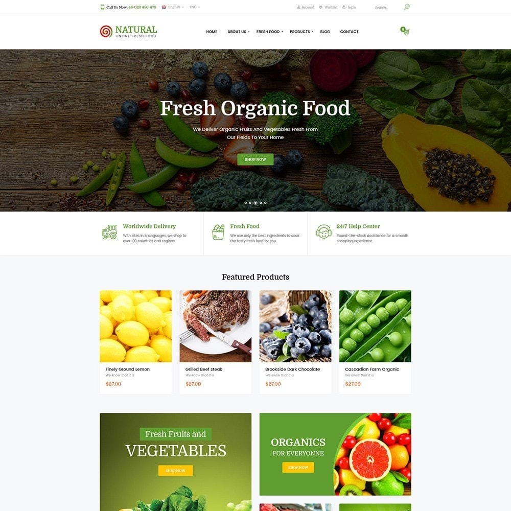theme - Продовольствие и рестораны - Pts Natural – Fresh Organic Food - 2
