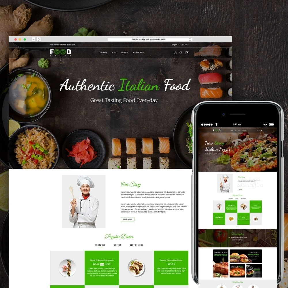 theme - Продовольствие и рестораны - Food Store - 1