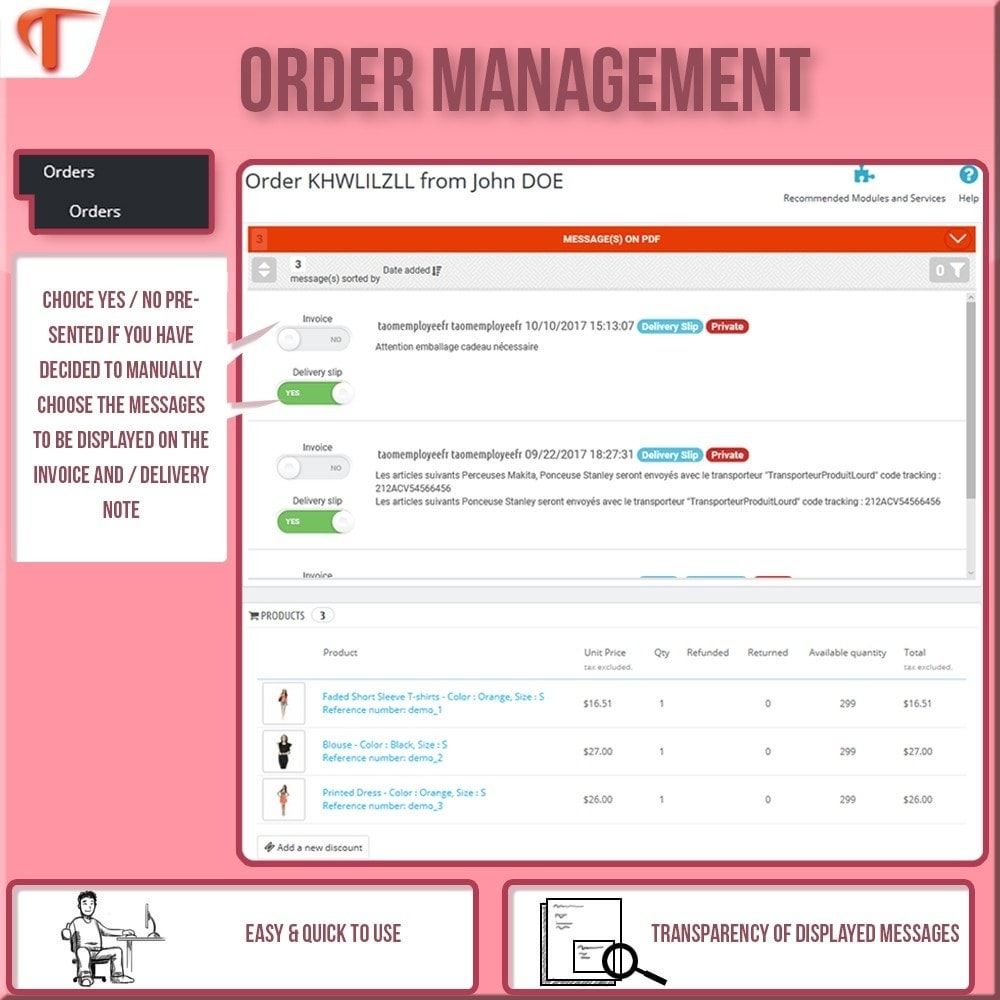 module - Contabilidade & Cobrança - Order Message in PDF - Invoice or/and Delivery Slip - 3