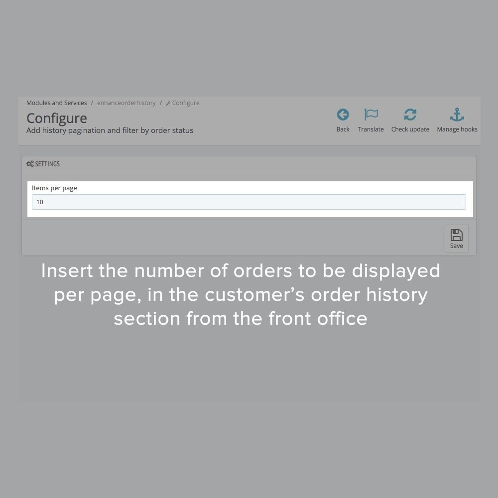 module - Auftragsabwicklung - Order history pagination and filter by order status - 1