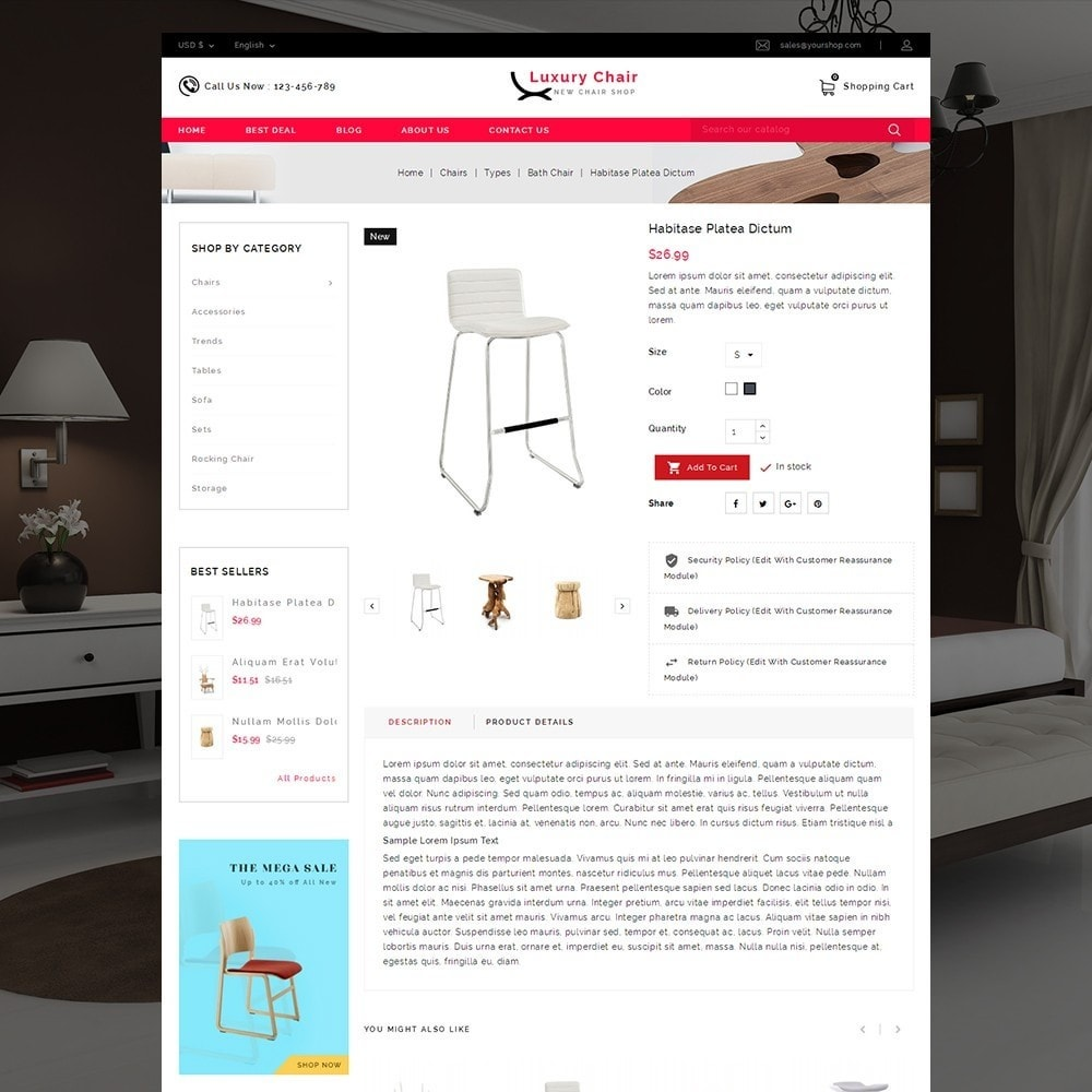 theme - Huis & Buitenleven - Luxury Chair Online Store Template - 4