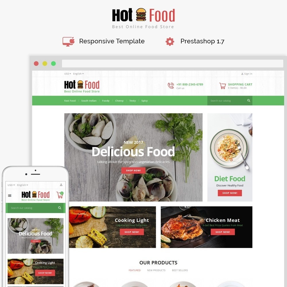 theme - Eten & Restaurant - Hotfood Demo Store - 1