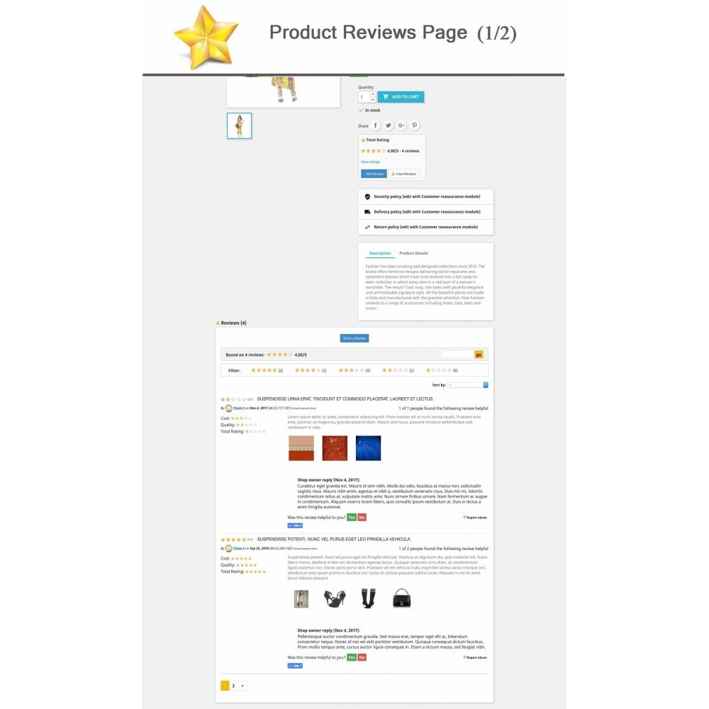 module - Recensioni clienti - Product Reviews Advanced PRO + Reminder + User Profile - 1