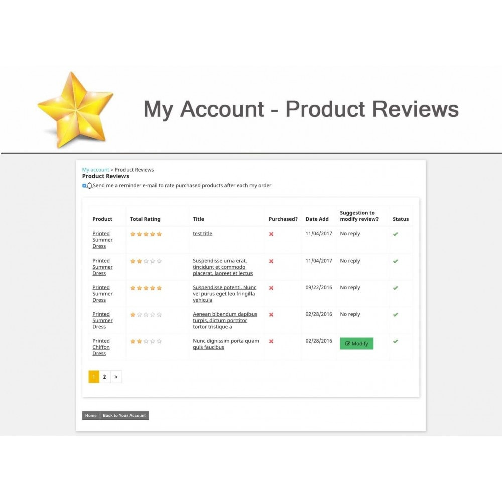 module - Customer Reviews - Product Reviews Advanced PRO + Reminder + User Profile - 16