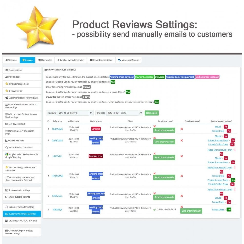 module - Recensioni clienti - Product Reviews Advanced PRO + Reminder + User Profile - 32