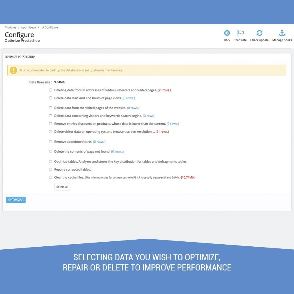 module - Website performantie - Optimizes performance, clean and accelerates DB - 3