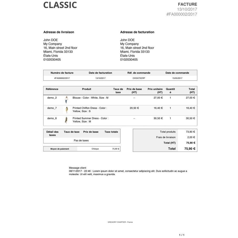 module - Gestion des Commandes - Messages client sur facture et/ou bon de livraison - 4