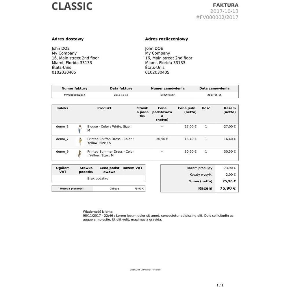 module - Zarządzanie zamówieniami - Wiadomości Klienta na Fakturze i / lub Dowodzie Dostawy - 3