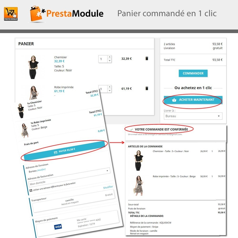module - Paiement par Carte ou Wallet - One Click Order - 2