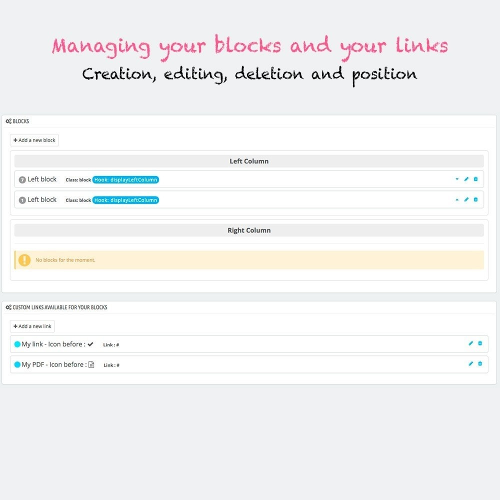 module - Blocos, Guias & Banners - Multi blocks custom links - 2