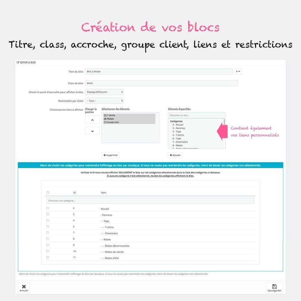 module - Blocs, Onglets & Bannières - Multi blocs de liens personnalisés - 3