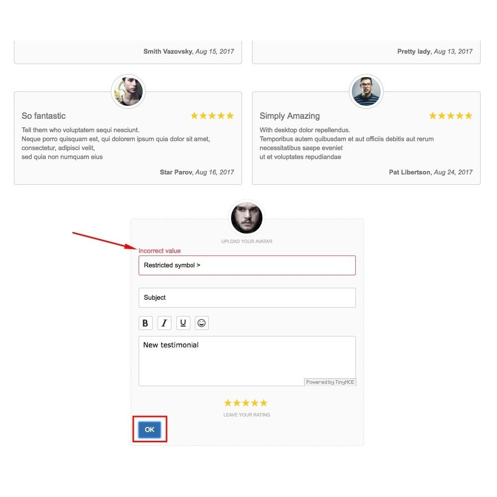 module - Customer Reviews - Testimonials with avatars - 3