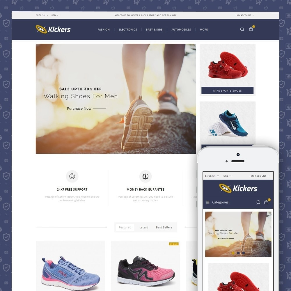 theme - Sports, Activities & Travel - Kickers - Sports Shoes Store - 1