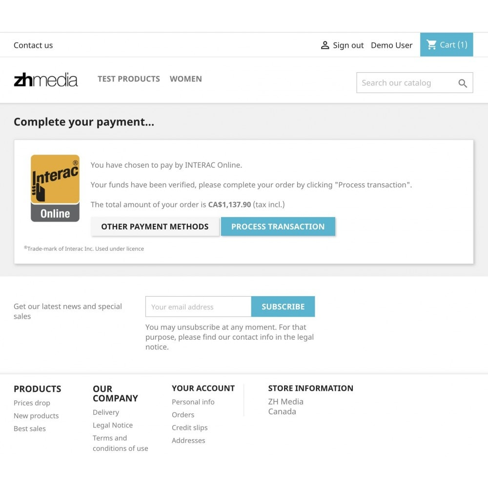 module - Pagamento por cartão ou por carteira - Moneris INTERAC® Online - 3