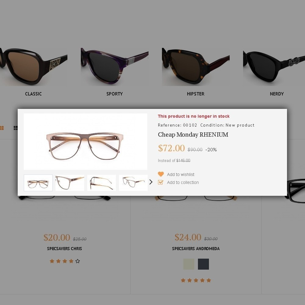 theme - Moda & Calzature - Glassini - per Un Sito di Occhiali da Vista - 5