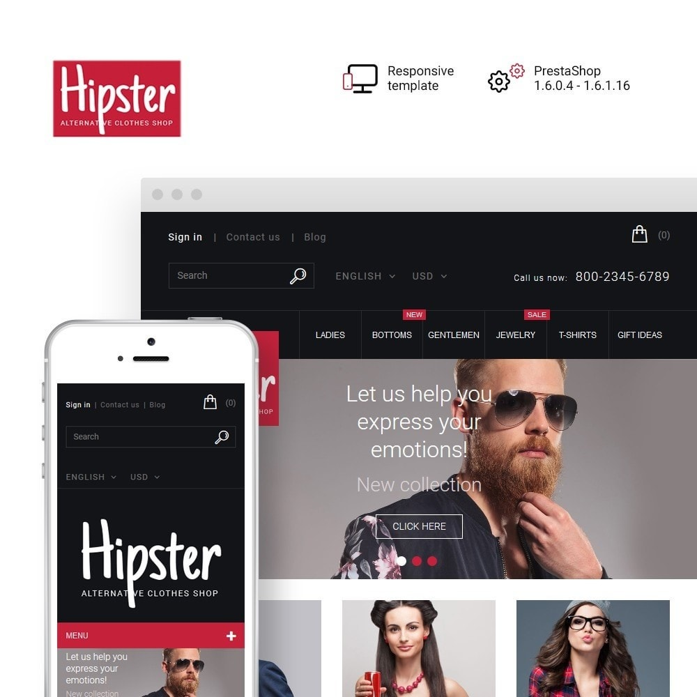 theme - Мода и обувь - Hipster - Apparel Template - 1