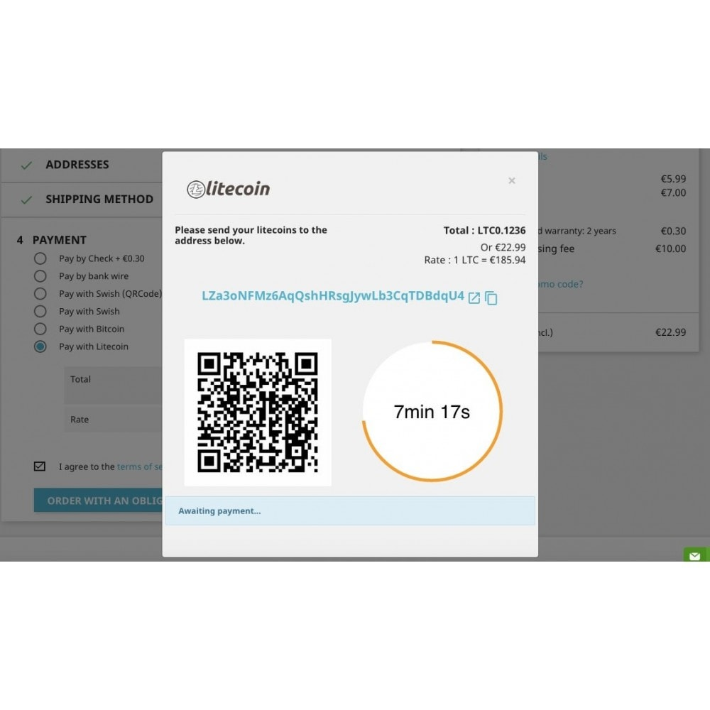 module - Andere Zahlungsmethoden - Litecoin - Accept litecoins directly into your wallet - 2