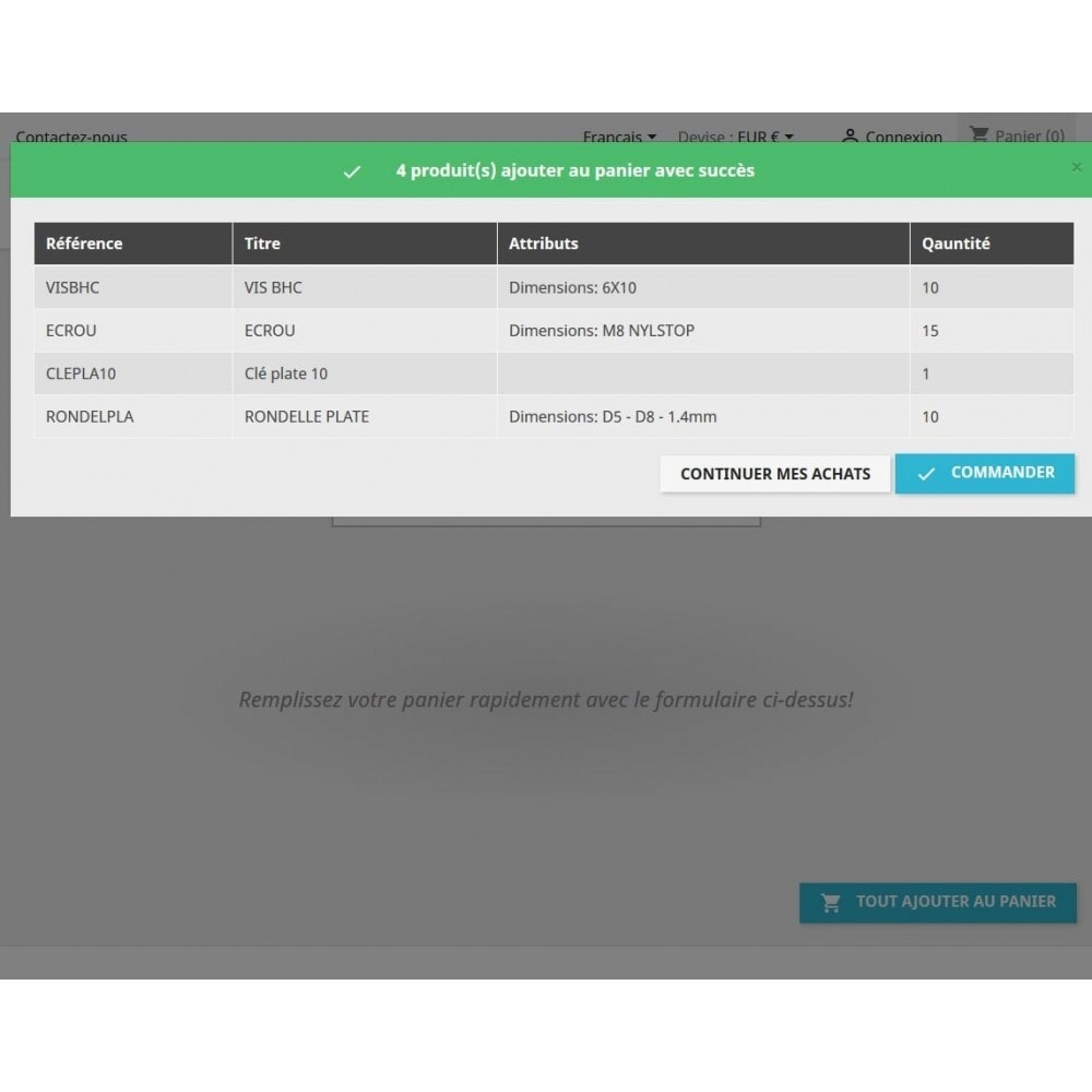 module - Bestelproces - Quick purchase - Fill cart quick - 6