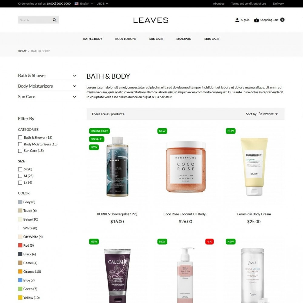 theme - Salute & Bellezza - Leaves Cosmetics - 5