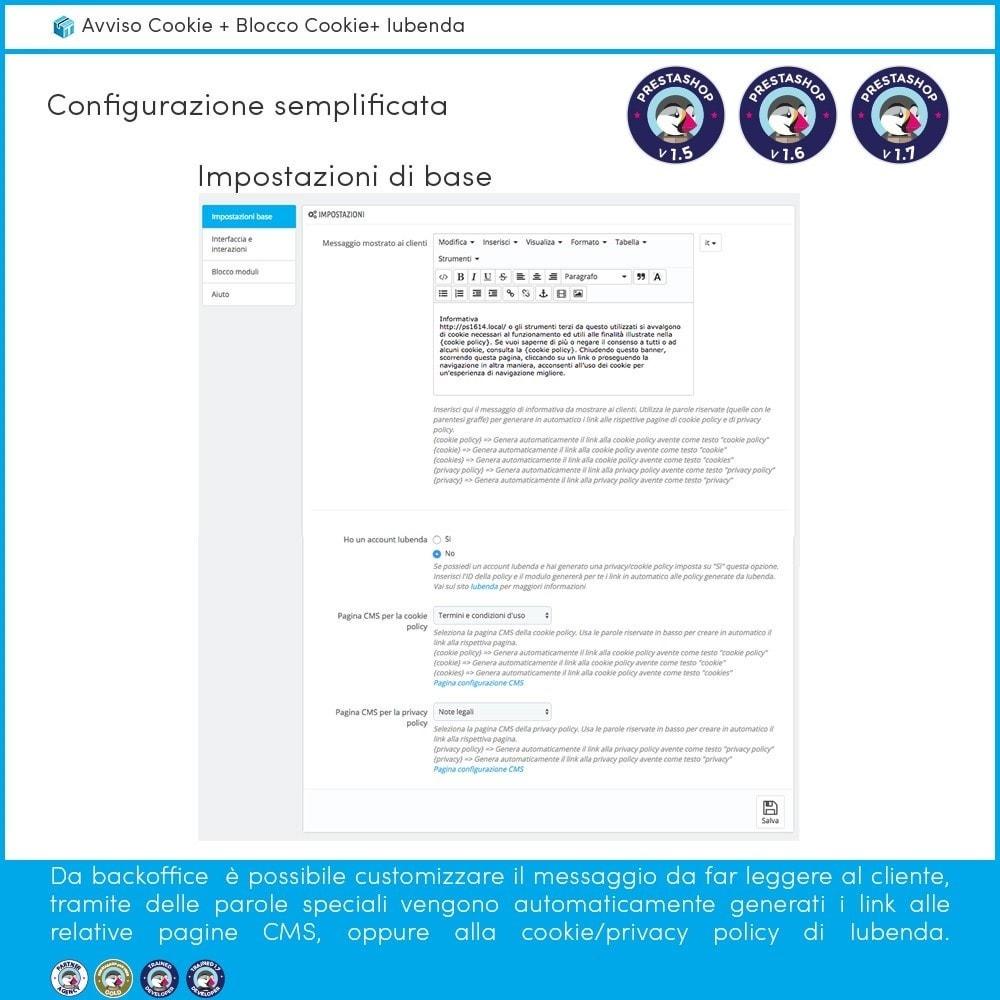 module - Legale (Legge Europea) - Avviso Cookie + Blocco Cookie + Iubenda - 4