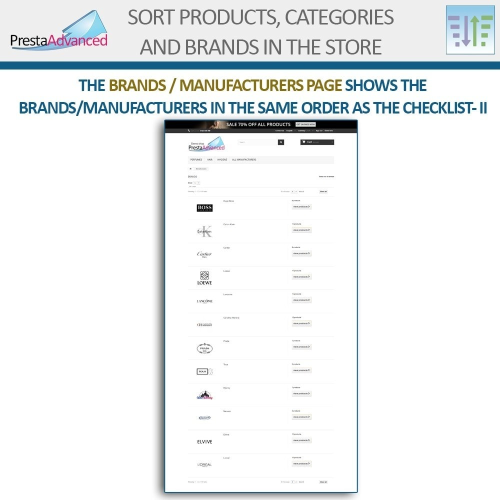 module - Personalisering van pagina's - Sort products, categories and brands in the store - 18
