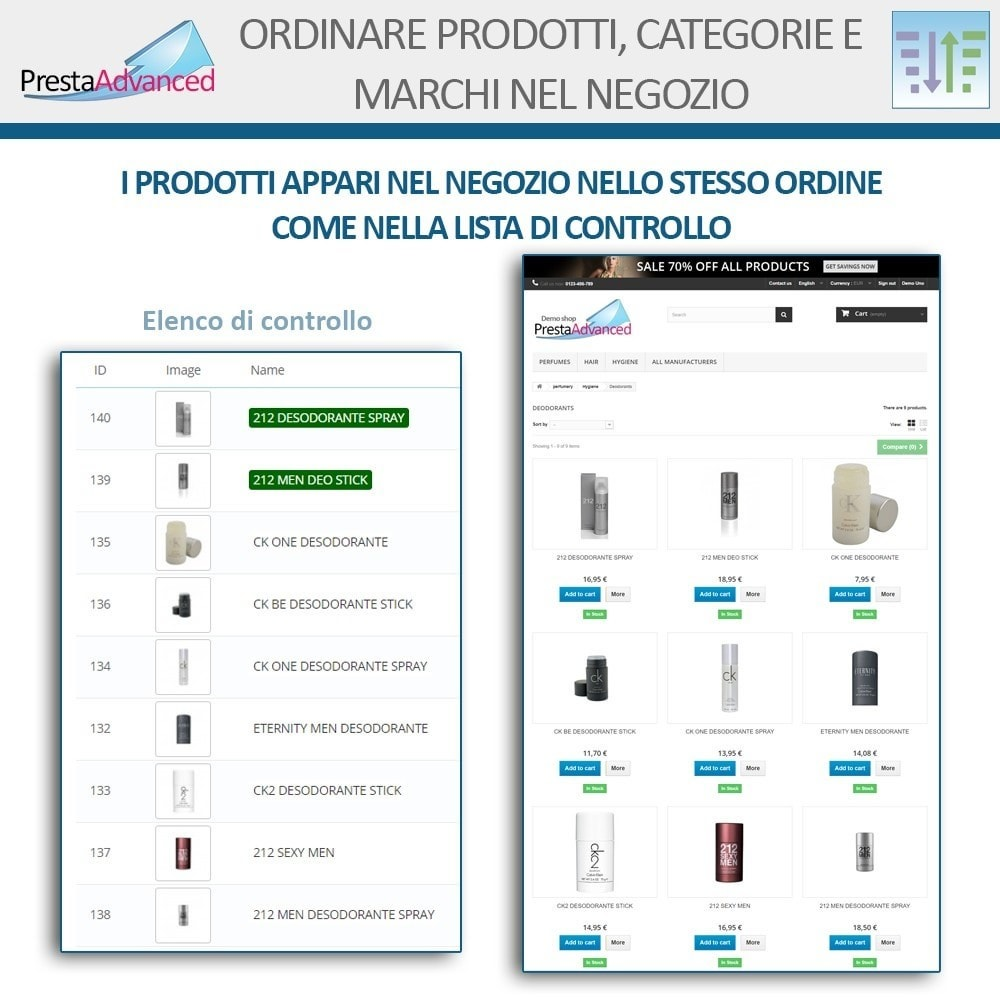 module - Personalizzazione pagine - Ordinamento di prodotti, categorie e marchi nel negozio - 8