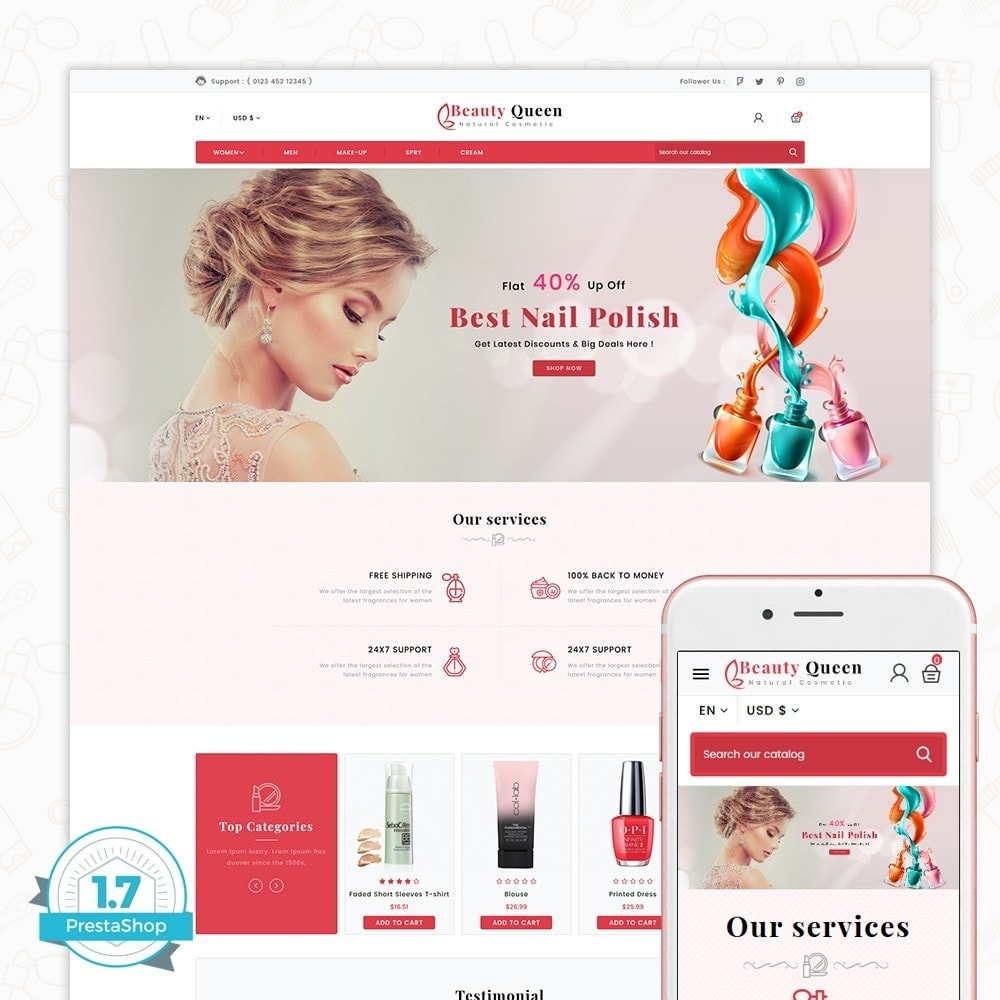 theme - Saúde & Beleza - Beauty Queen Store - The Natural Cosmetics - 1