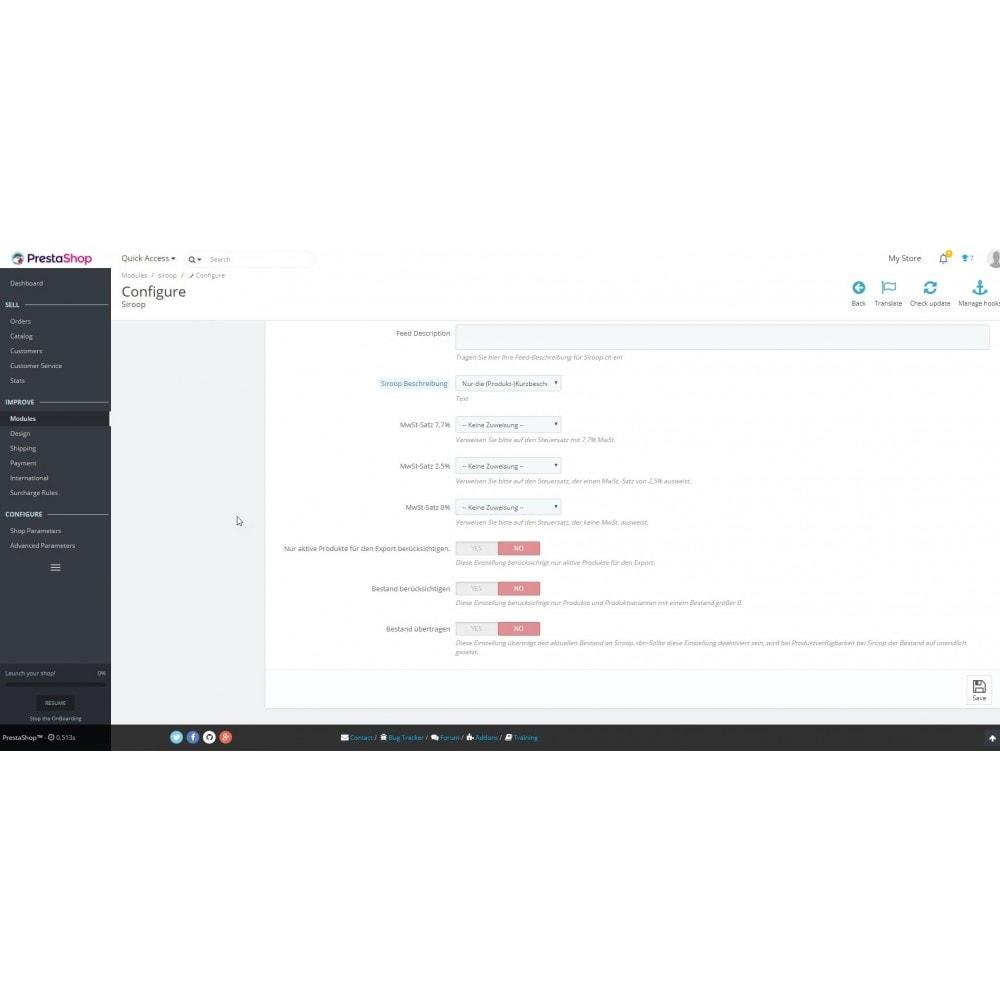 module - Importeren en Exporteren van data - Siroop.ch Export - 2